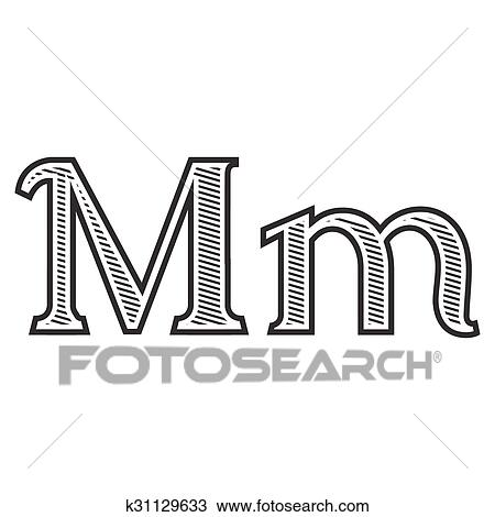 clipart of font tattoo engraving letter m with shading k31129633