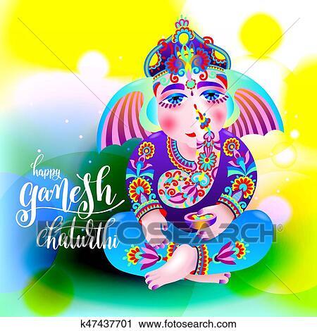 Clipart of happy ganesh chaturthi beautiful greeting card k47437701 clipart happy ganesh chaturthi beautiful greeting card fotosearch search clip art illustration m4hsunfo