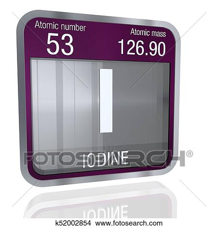Drawings Of Iodine Symbol In Square Shape With Metallic Border And