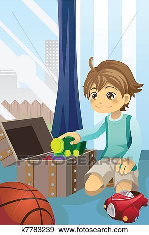 clip art junge aufr umen seine spielzeuge k7783239 suche clipart poster illustrationen. Black Bedroom Furniture Sets. Home Design Ideas