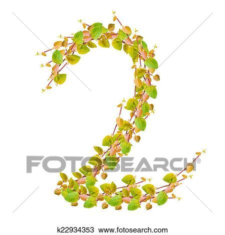 Dibujo - número 2, alfabeto, de, hojas verdes k22934353 - Buscar ...