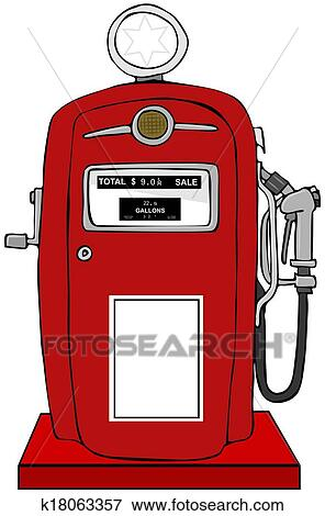 stock illustration of old gas pump k18063357 search eps clipart rh fotosearch com gas station clipart free gas station clipart black and white