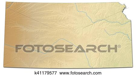Relief map - Kansas (United States) - 3D-Rendering Stock Illustration