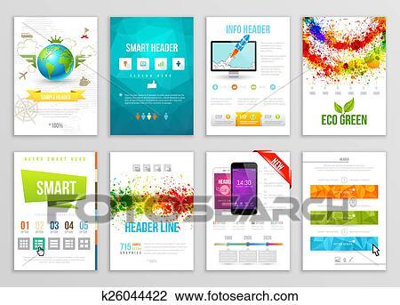 Clip Art Of Set Of Flyer Brochure Background Banner Designs