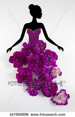 Silhouette Of A Girl In A Floral Dress Stock Illustration