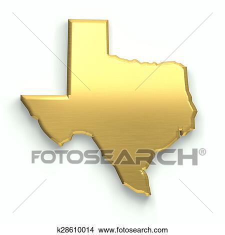 3d Map Of Texas.Texas Golden Map 3d Design Stock Illustration