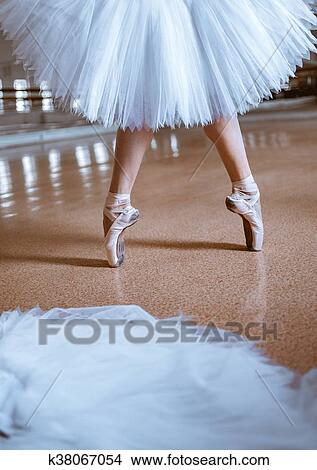 The Close Up Feet Of Young Ballerina In Pointe Shoes Picture K38067054 Fotosearch