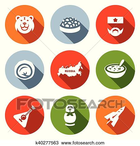 Clipart Of Vector Set Of Russia Icons Bear Caviar Soldier