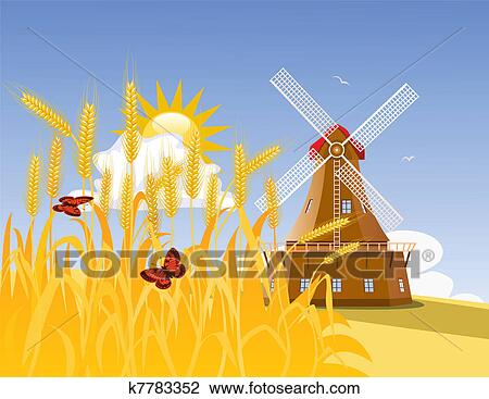 Wheat field and mill Clipart | k7783352 | Fotosearch Yellow Butterfly Clipart