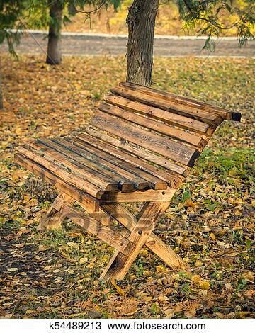 Wooden Bench Made At Home In The Autumn Park Stock Image