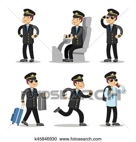 5fcc5f4b40 Clipart - Airplane Pilot Cartoon Character Set. Aircraft Captain in  Uniform. Vector illustration.