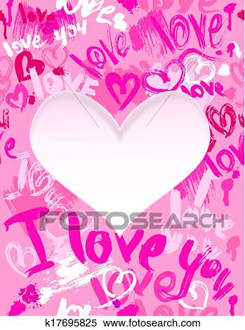 Clipart Of Background With Brush Strokes And Scribbles In Heart