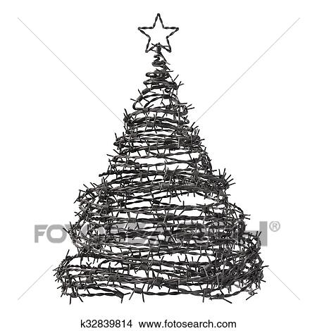 Drawings of Christmas Tree Made From Barbed Wire k32839814 - Search ...