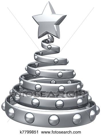 Christmas Tree Silver Grey Abstract Decoration With Shiny Star And Balls Happy New Year Eve Bauble Stylized Traditional Xmas Holidays Icon Concept