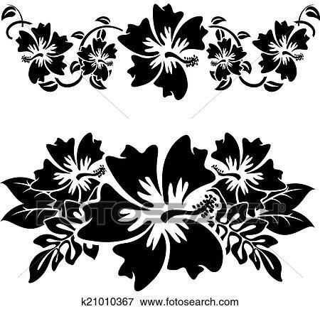 Clipart hibiscus 3 k21010367 recherchez des cliparts - Fleur d hibiscus dessin ...