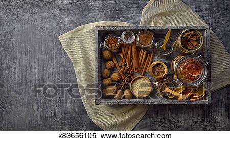 Kasten, von, gewürz, für, backen, und, cooking., eigenheim ...