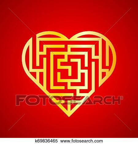 Maze heart vector icon Clipart | k69836465 | Fotosearch