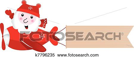 clipart of santa flying in christmas airplane with blank banner