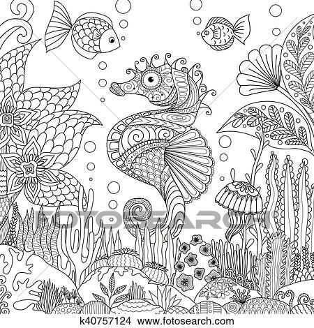 Clipart Seahorse E Corallo K40757124 Cerca Clipart