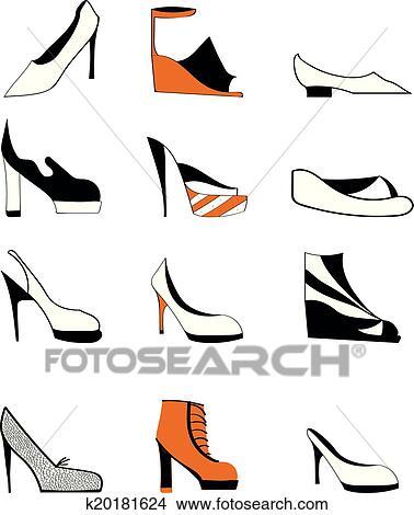 clipart of shoes set k20181624 search clip art illustration rh fotosearch com clip art of shoe border clip art of shoe print