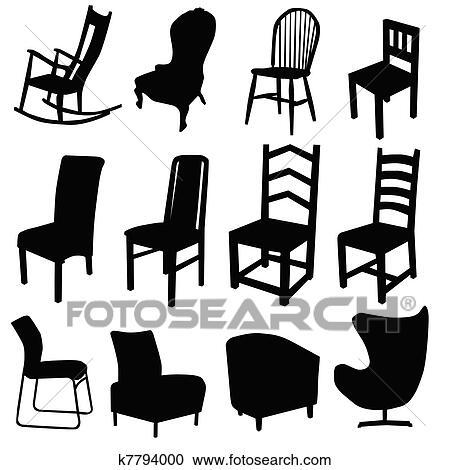 Stuhl Kunst Vektor Abbildung In Schwarz Farbe Zwei