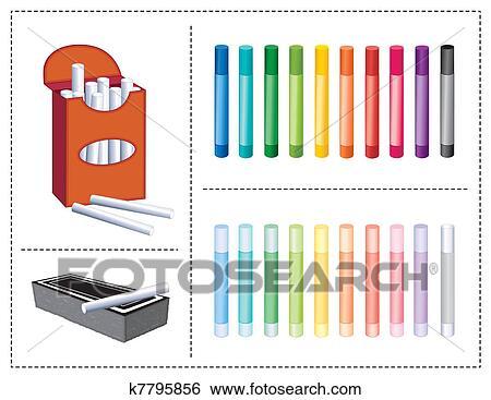 Clip Art - tafelkreide, kasten, 20, farben, radiergummi k7795856 ...