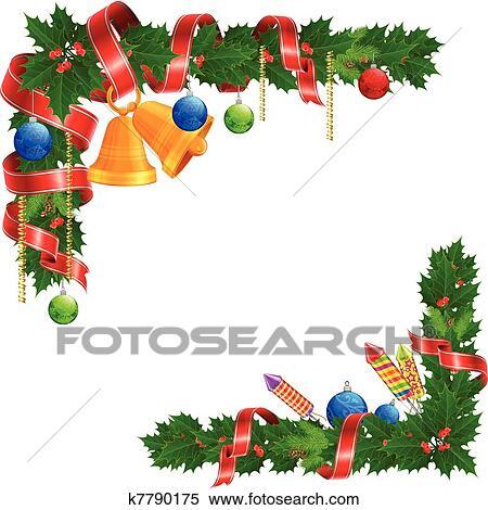 Clipart weihnachten winkel girlande k7790175 suche - Clipart weihnachten ...