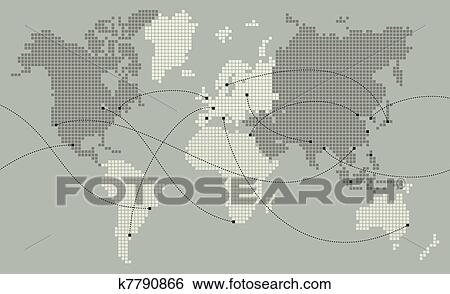 Clip art of world map made out of small squares k7790866 search clip art world map made out of small squares fotosearch search clipart gumiabroncs Image collections