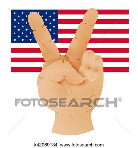 手 提示 ピースサイン そして 旗 の 米国 クリップアート切り