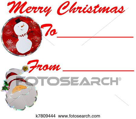 Merry Christmas Gift Tags.A Holiday Merry Christmas Gift Tag Isolated On White With Room For Your Text Stock Illustration