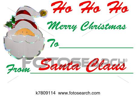 drawings of a santa signed merry christmas gift tag design isolated