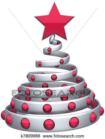 Weihnachtsbaum Rot Silber.Abstrakt Weihnachtsbaum Silber Stock Illustration