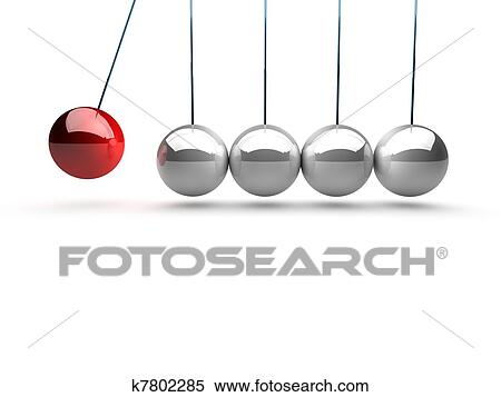 Balancing Balls Newtons Cradle Over White Background Stock