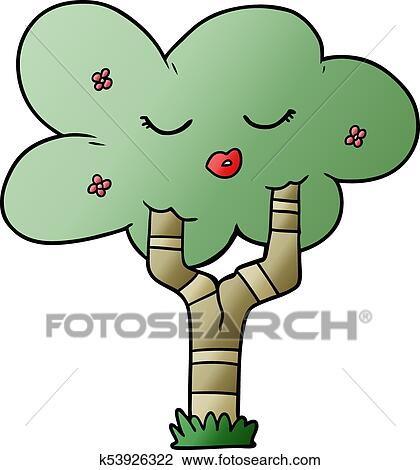 Cartoon Tree With Face Clipart K53926322 Fotosearch Caricatures cartoon face portrait sketch. fotosearch
