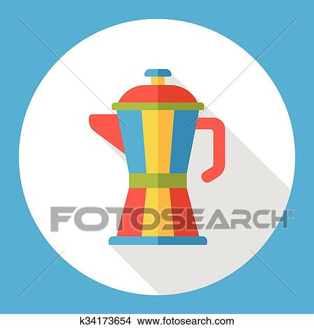 Coffee maker kettle flat icon Clipart