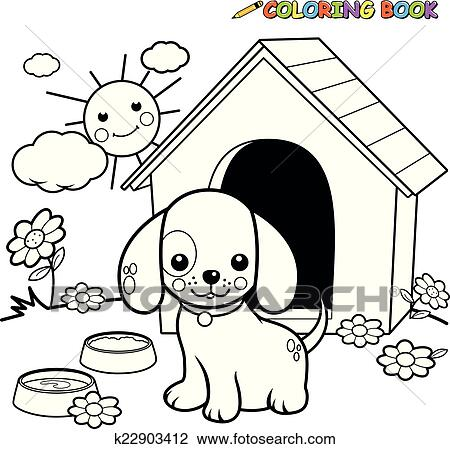 Clipart of Coloring book dog outside doghouse k22903412 - Search ...