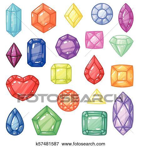 232c6a29d30f Diamante, vector, gema, y, precioso, piedra preciosa, o, cristal, piedra,  para, joyería, ilustración, cristalino, conjunto, de, joya, o, mineral, ...