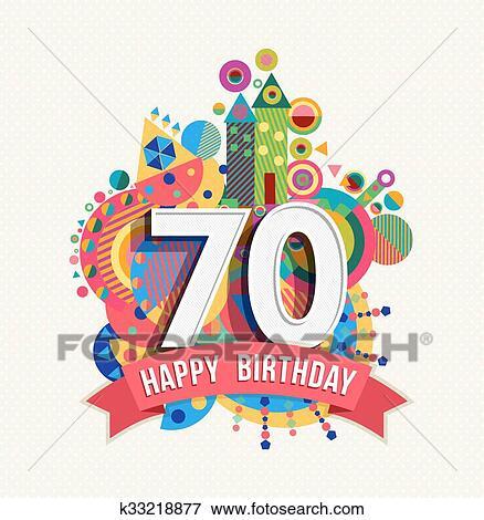 Genoeg Clipart - gelukkige verjaardag, 70, jaar, begroetende kaart  #QO-53