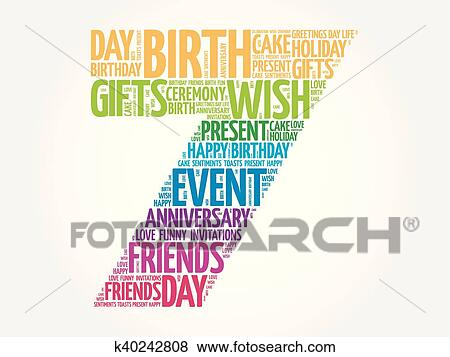 Happy 7th Birthday Word Cloud Clip Art K40242808 Fotosearch
