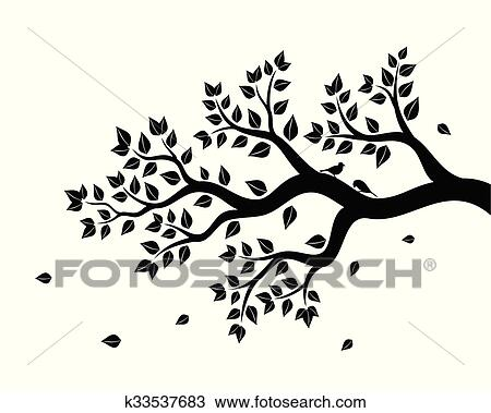 Tree Branch with Leaves Clip Art