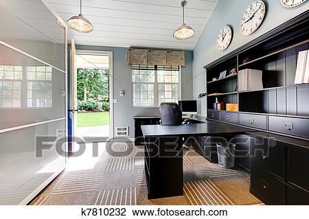 Bleu moderne bureau maison conception intérieur à sombre brun