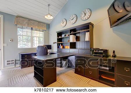 image bleu moderne bureau maison conception intrieur sombre