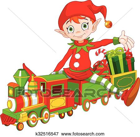 clip art of christmas elf and toy train k32516547 search clipart rh fotosearch com christmas train clipart free christmas train clipart black and white