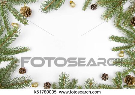 Christmas Frame Fir Branches Cones And Golden Balls Christmas Wallpaper Flat Lay Top View Mockup Stock Photography