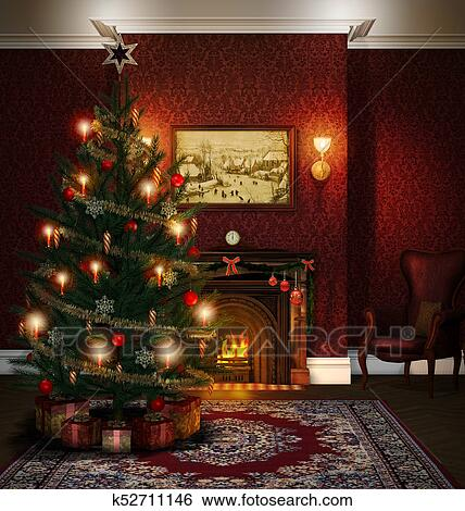 Stock Illustration Of Christmas Tree Fireplace Decorated Living Room