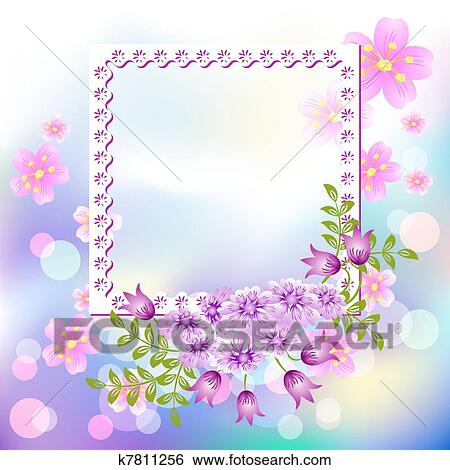 Clip Art Disegno Cornici Foto Con Fiori K7811256 Cerca
