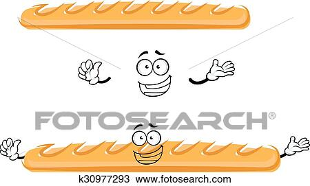 Clipart Of Funny Cartoon French Baguette Bread K30977293