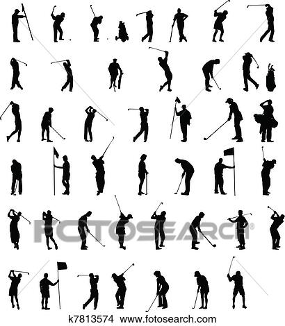 Clipart Of Golf Silhouettes K7813574 Search Clip Art Illustration