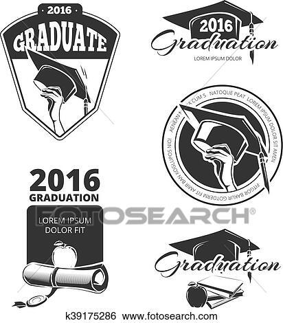 Clip Art Of Graduating Class Vector Badges Emblems T Shirt Design