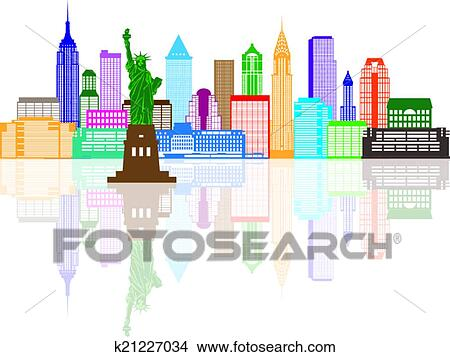 clipart - horizon new york, couleur, illustration k21227034
